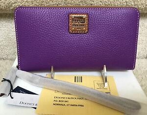 Dooney & Bourke Pebble Grain Large Zip Around Wristlet Wallet in VIOLET