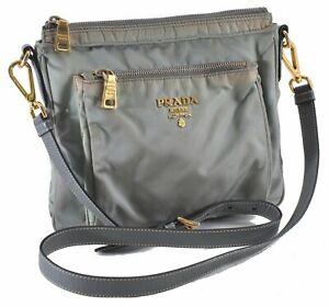 Authentic PRADA Nylon Leather Shoulder Cross Body Bag Light Green 0398A