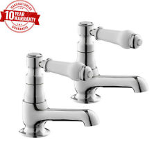 Traditional Chrome Basin Taps Pair with White Ceramic Handles for Bathroom *WN
