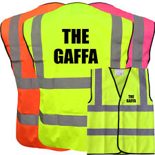 THE GAFFA YELLOW HI VIZ VIS WAISTCOAT VEST SAFETY WORKWEAR STAG PARTY BOSS