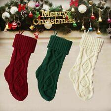 18inch Large Christmas Stocking Knit SockSanta Gift Bag Xmas Tree HangingDecor H
