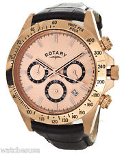 Rotary Men's Watch Rose Gold-Tone Chronograph Leather Band Watch GS00143/25
