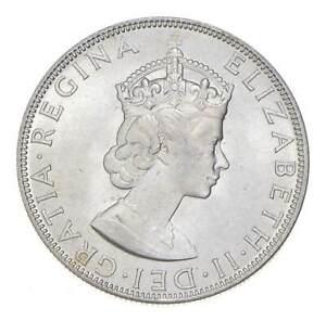 Choice BU Unc 1964 Bermuda 1 Crown Silver Coin - Mint State *761