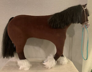 Retired American Girl Prancing Clydesdale Horse 2014 BKH36 With Reins EUC