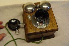 BEAUTIFUL Antique TELEPHONE Vintage Wood Oak RINGERS BELLS Western Electric OLD