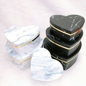 3/6*Heart Shaped Marbled Gift Box Candy Container Packaging Wedding Parties Case