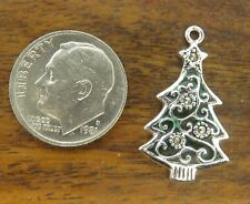 Christmas Tree Enamel charm Vintages sterling silver Marcasite Merry