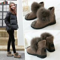 Women Winter Snow Boots Genuine Cow Leather Ankle Ladies Boots Plus Size 4-9 Us
