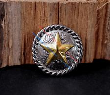 "5X 1-1/4"" Bling Silver Western Gold Texas Star Leathercraft Belt Saddles Conchos"