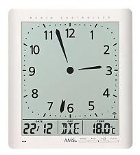 AMS 5896 Wanduhr Tischuhr Funkuhr analog/digitale Anzeige Zeit Datum Temperatur