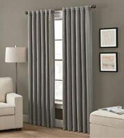"Grayson 84"" Rod Pocket/Back Tab Window Curtain Panel in Charcoal"