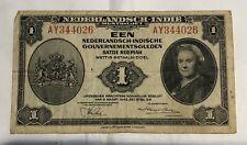 1943 NEDERLANDSCH-INDIE 1 GULDEN BANKNOTE NETHERLANDS American WW2