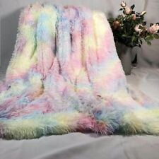 Blanket Soft Rainbow Plush Super Bedding Sofa Cover Furry Fuzzy Fur Warm Throw