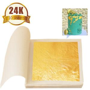 24K Gold Leaf Edible Gold Foil Sheets for Cake Decoration Arts Craft Paper 10pcs