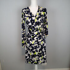 ANNE KLEIN Womens M V Neck Long Sleeve Dress STRETCH NEON GREEN BLUE WHITE F2