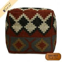 """Indian Ethnic Jute Wool Footstool Pouf Cover 18"""" Handwoven Ottoman Pouffe Case"""