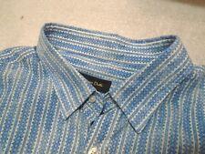 Massimo Dutti 100% Cotton Blue Geometric Striped Sport Shirt NWT XXL