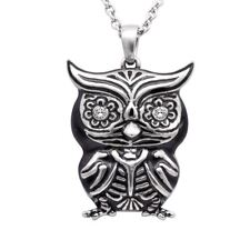 """Owl Necklace """"Crystal Eyes"""", Bird Pendant with Swarovski Crystals By Controse"""