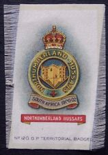 NORTHUMBERLAND HUSSARS Original Silk Army Badge issued in 1913 100+ Years Old