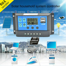Solar Panel Regulator Charge Controller USB 60A 12V-24V With Dual USB Charger US