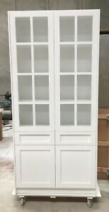 A009 High Gloss White Display Cabinet Show Case Storage Cabinet