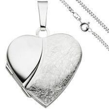 Medaillon Herz Anhänger zum Öffnen für 2 Fotos 925 Silber mit Kette 50 cm 49808