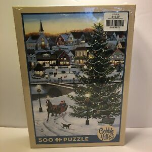 Cobble Hill Puzzle Village Tree 500pc Linen Print