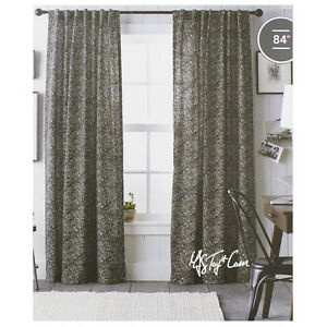 "Threshold One Cotton Panel Window Treatment  Black Diamond Print Curtain 54x84"""