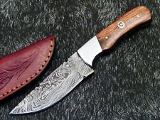"Skinning Knife - Full Tang Damascus Steel Blade 8"" - NATURAL WOOD - WD-8861"
