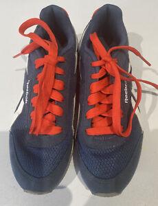 Boys Reebok Blue Orange Trainers UK Size 3 EUR 34.5 Lace Up