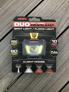 NEBO NE6444 Duo 250+ Lumen Hands Free Headlamp Head Torch Bright + Dimming