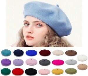 Ladies Plain Beret Blend Wool French Beret Winter Autumn Womens Hat