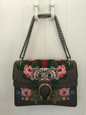 GUCCI LEATHER FLORAL EMBROIDERED DIONYSUS AND OWL SHOULDER BAG