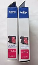 NEW 2 sealed Authentic Brother LC61M magenta ink color cartridges exp. 3/2014
