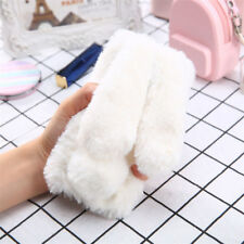 Bunny Rabbit Warm Winter Fluffy Fur Plush Diamond Soft Case Cover For Huawei