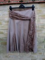 Debenhams Collection Brown Cotton Skirt with Voile / Lace Sash Size 10 BNWT NEW