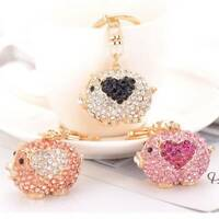 Crystal Pig Keychain Keyring Key Holder Bag Charm Car Hanging Pendant Jewelry