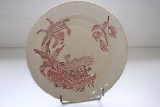 Ancien plat creux en faïence de Longchamp décor exotique de perroquet 30 cm