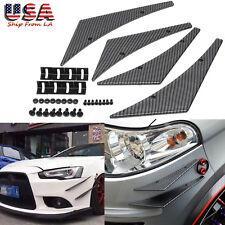 4x JDM Carbon Fiber Texture Front Bumper Lip Diffuser Splitter Fins Body Spoiler