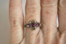 FINE ANTIQUE VICTORIAN 9 CT GOLD ENGRAVED DEEP PINK GEMSTONE & PEARL RING  P