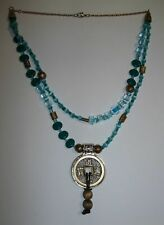 "Gorgeous Handmade Teal and Antiqued Gold Beaded Oriental Pendant Necklace-20""L"