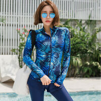 Women Rash Guard UV Protection Surfing Sun Shirt Zipper Floral Swim Top Swimwear