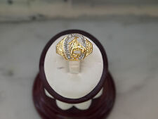 Antique Style Horse & Horseshoe 11 Natural Diamonds 14K Yellow Gold Ring for Men