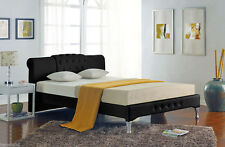 Modern Chesterfield Design King Size Black Leather Sleigh Bed *FREE DELIVERY*
