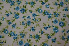 """Blue Green Flowers Print Quilting Fabric Craft Apparel Upholstery 45"""" Wide #102"""