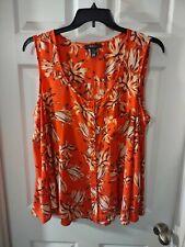 New listing Style & Co Woman Top Plus Size 2X Orange Floral Print Sleeveless Buttondown