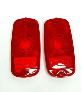 Pair Tail Light Lenses w/ Bowtie for 1960-66 Chevy Fleetside Pickup Truck