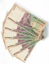 2001 ( 2008 ) Indonesia 5000 Rupiah Solid No. Note 6 pcs RWG to RWL 333333 UNC