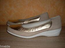 Damenschuh ELEGANTER ARA SLIPPER NEU Gr. 42 8 H beige gold & Leder sehr bequem