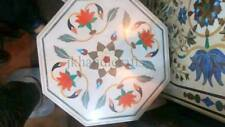 """;White 12"""" Marble Coffee Center Table Top Gems Marquetry Floral Inlaid Art Gift"""